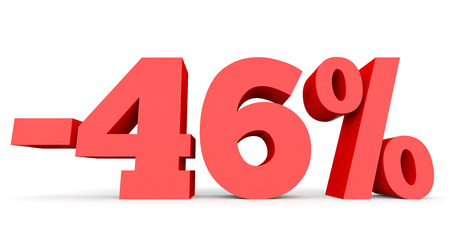 40: Minus forty six percent. Discount 46 %. 3D illustration on white background. Stock Photo