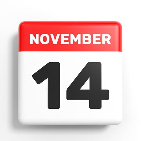 November 14. Calendar on white background. 3D illustration. Stock Photo