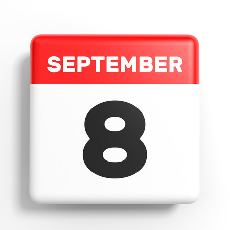 8 september. Kalender op witte achtergrond. 3D illustratie. Stockfoto
