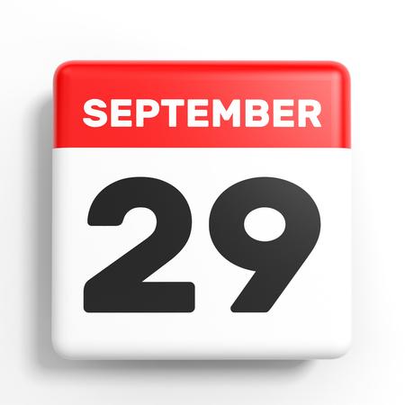 twenty ninth: September 29. Calendar on white background. 3D illustration.
