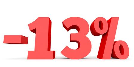 Minus thirteen percent. Discount 13 %. 3D illustration on white background. Stock Photo