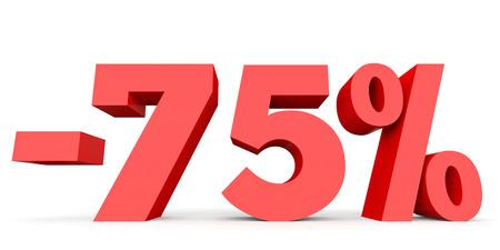 seventy: Minus seventy five percent. Discount 75 %. 3D illustration on white background.