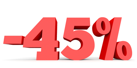 Minus forty five percent. Discount 45 %. 3D illustration on white background.