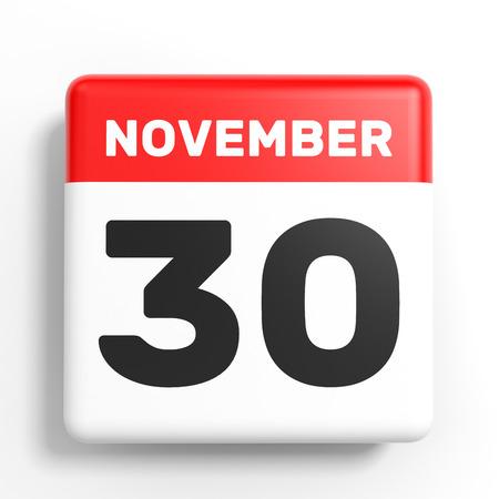 November 30. Calendar on white background. 3D illustration.