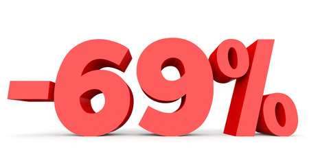 Minus sixty nine percent. Discount 69 %. 3D illustration on white background.