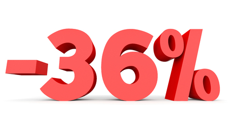 number 36: Minus thirty six percent. Discount 36 %. 3D illustration on white background.