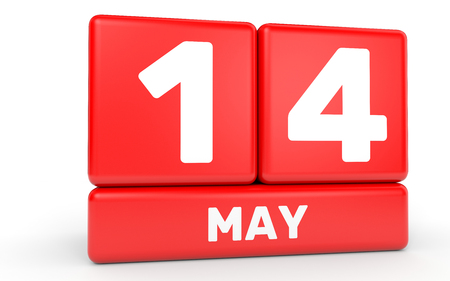 fourteenth: May 14. Calendar on white background. 3D illustration.