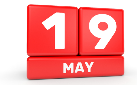 May 19. Calendar on white background. 3D illustration. Stock Photo
