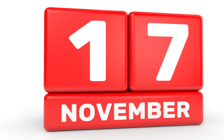 November 17. Calendar on white background. 3D illustration. Stock Photo