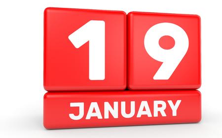 January 19. Calendar on white background. 3D illustration.
