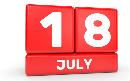 the eighteenth: July 18. Calendar on white background. 3D illustration. Stock Photo