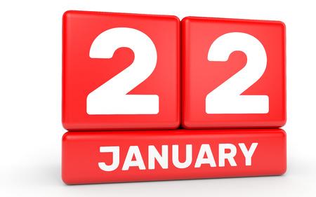 2 months: January 22. Calendar on white background. 3D illustration. Stock Photo