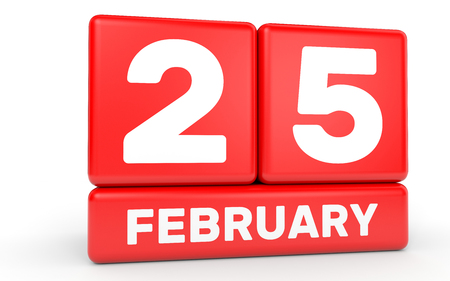 25th: February 25. Calendar on white background. 3D illustration. Stock Photo