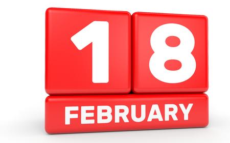the eighteenth: February 18. Calendar on white background. 3D illustration.