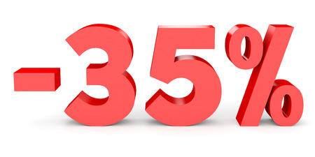 Minus thirty five percent. Discount 35 %. 3D illustration on white background.