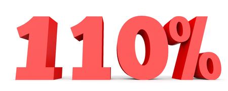 one hundred: One hundred and ten percent. 110 %. 3d illustration on white background.