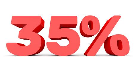 perdidas y ganancias: Thirty five percent off. Discount 35 %. 3D illustration on white background. Foto de archivo