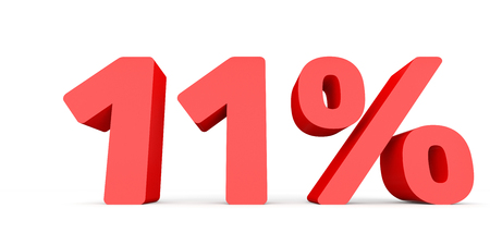 Eleven percent off. Discount 11 %. 3D illustration on white background. Stock Photo