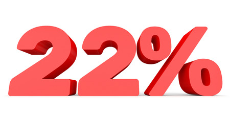 Twenty two percent off. Discount 22 %. 3D illustration on white background. Stock Photo