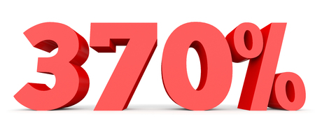 seventy: Three hundred and seventy percent. 370 %. 3d illustration on white background. Stock Photo