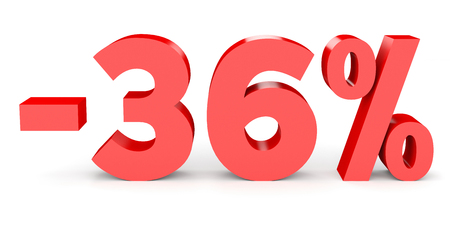 36 6: Minus thirty six percent. Discount 36 %. 3D illustration on white background.
