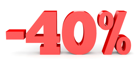 40: Minus forty percent. Discount 40 %. 3D illustration on white background.