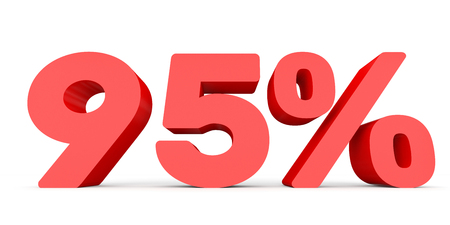 95: Ninety five percent off. Discount 95 %. 3D illustration on white background.