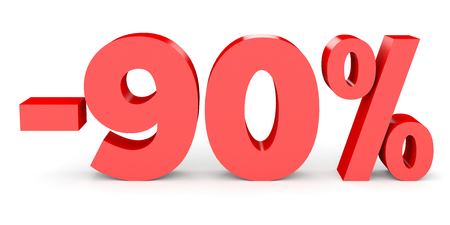 Minus ninety percent. Discount 90 %. 3D illustration on white background.