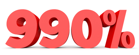 perdidas y ganancias: Novecientos noventa por ciento. 990%. Ilustración 3D sobre fondo blanco.