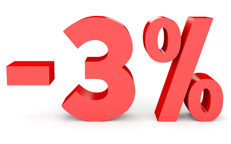 Minus three percent. Discount 3 %. 3D illustration on white background.
