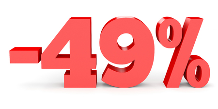 Minus forty nine percent. Discount 49 %. 3D illustration on white background. Stock Photo