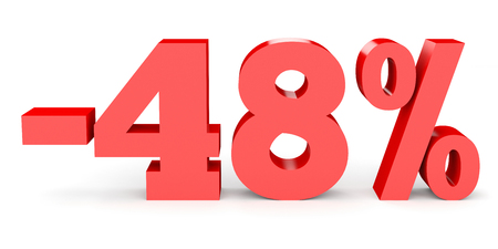 Minus forty eight percent. Discount 48 %. 3D illustration on white background.