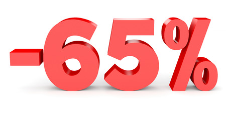 Minus sixty five percent. Discount 65 %. 3D illustration on white background.