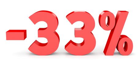 Minus thirty three percent. Discount 33 %. 3D illustration on white background.