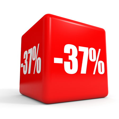 Thirty seven percent off. Discount 37 %. 3D illustration on white background. Red cube. Stock Photo