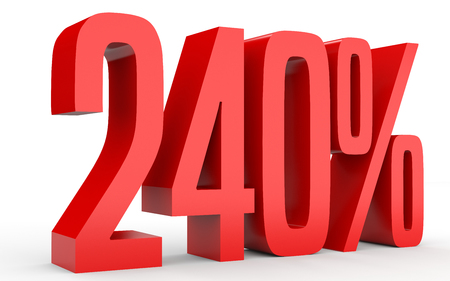 40: Two hundred and forty percent. 240 %. 3d illustration on white background. Stock Photo