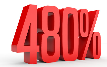 percentage: Four hundred and eighty percent. 480 %. 3d illustration on white background. Stock Photo