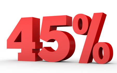 40: Forty five percent off. Discount 45 %. 3D illustration on white background. Stock Photo