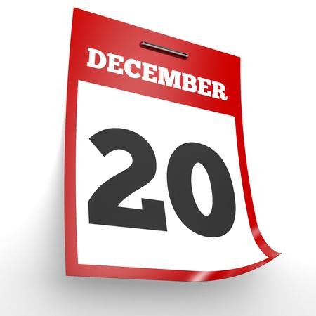 20th: December 20. Calendar on white background. 3D illustration.