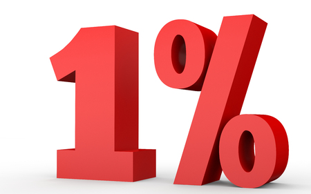 1% オフ。1% を割引します。白い背景に 3 D のイラスト。