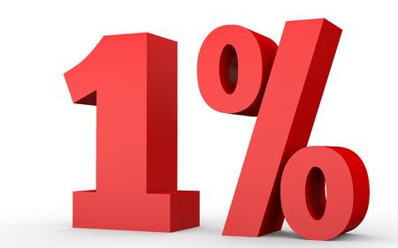 1 % 할인. 1 % 할인. 흰색 배경에 3D 그림입니다.