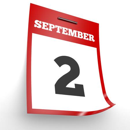 2 months: September 2. Calendar on white background. 3D illustration.