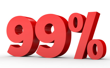 perdidas y ganancias: Noventa y nueve por ciento de descuento. Descuento 99%. Ilustración 3D sobre fondo blanco. Foto de archivo