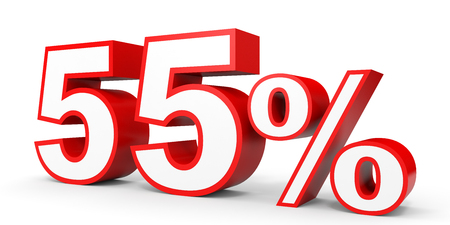 percentage: Fifty five percent off. Discount 55 %. 3D illustration on white background.
