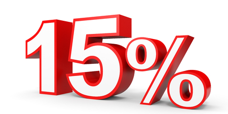 volume discount: Fifteen percent off. Discount 15 %. 3D illustration on white background. Stock Photo