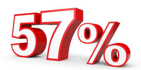 Fifty seven percent off. Discount 57 %. 3D illustration on white background.
