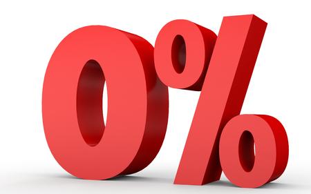 ゼロ % オフ。0% を割引します。白い背景に 3 D のイラスト。 写真素材