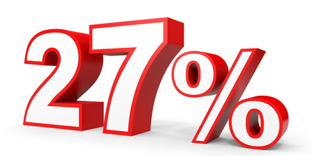 volume discount: Twenty seven percent off. Discount 27 %. 3D illustration on white background.