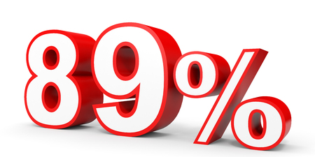 Eighty nine percent off. Discount 89 %. 3D illustration on white background.