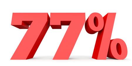 seventy: Seventy seven percent off. Discount 77 %. 3D illustration on white background.